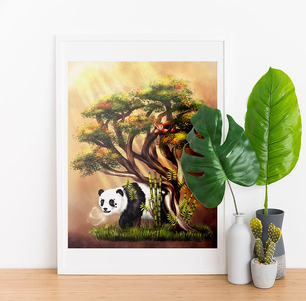 Panda Bonsai Painting