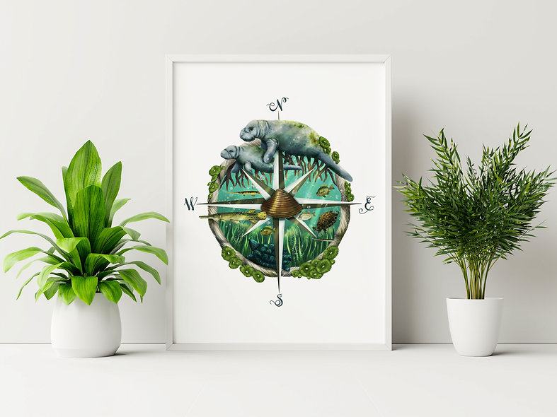 Compass Manatee Print