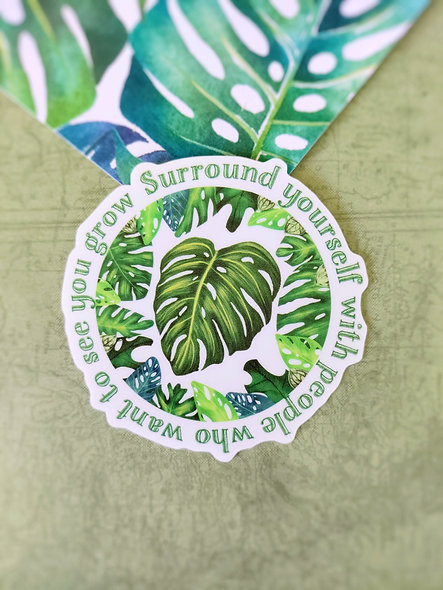Monstera Plant Quote Sticker