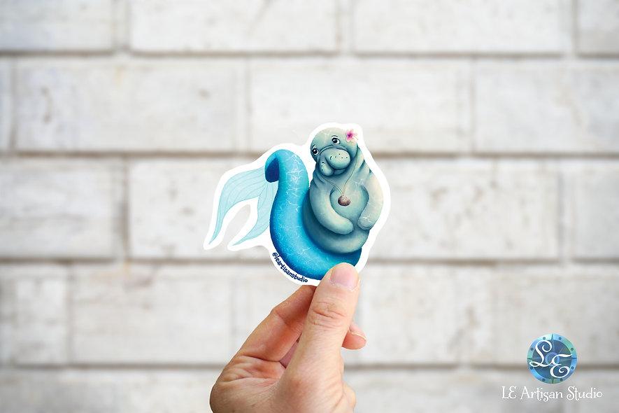 Manatee Mermaid Sticker