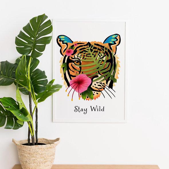 Botanical Tiger Painting