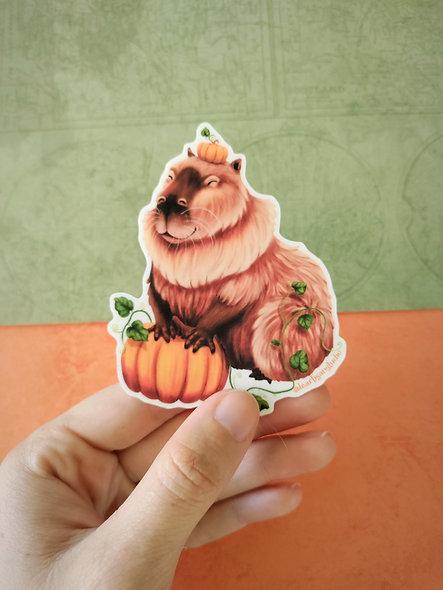 Capybara Pumpkin Sticker