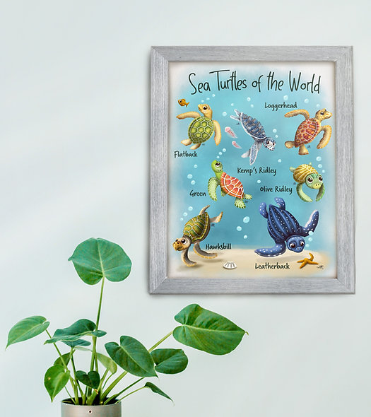 Sea Turtles of the World Painting