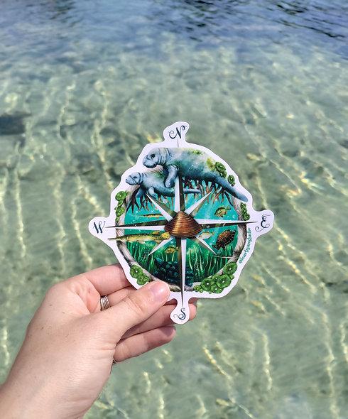 Manatee Compass Sticker