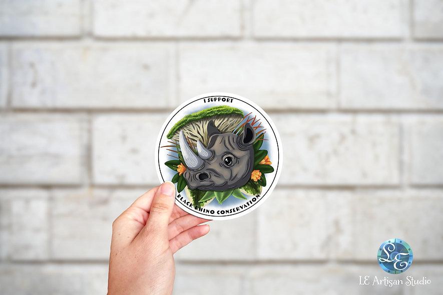 Black Rhino Conservation Sticker