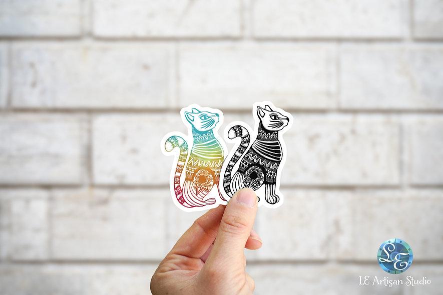 Tribal Cat Stickers