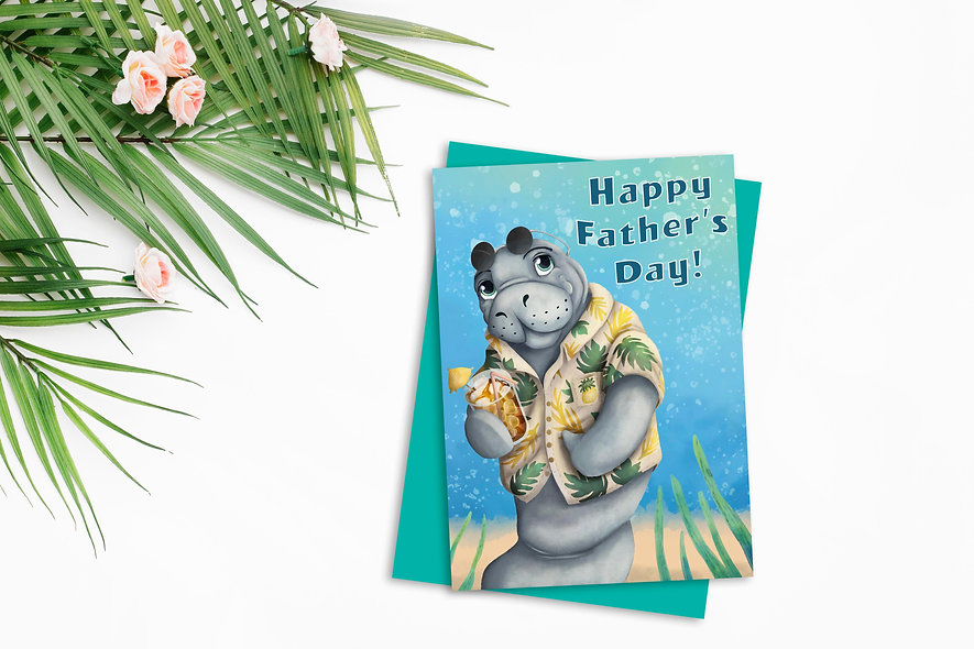 Manatee Fathers Day Card