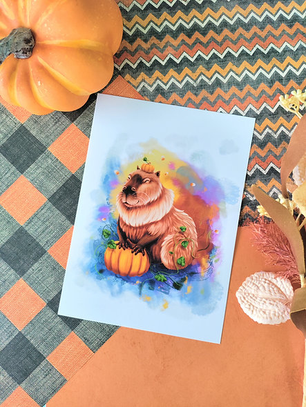 Capybara Pumpkin Print