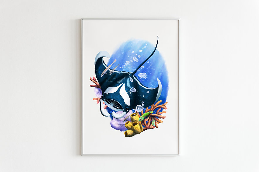 Coral Reef Manta Print