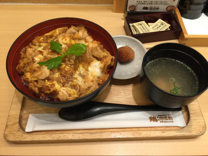 """Good lunch """"Oyako don""""=Parent & child bowl."""