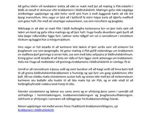 Yfirlýsing vegna PSA-mælinga og krabbameins í blöðruhálskirtli
