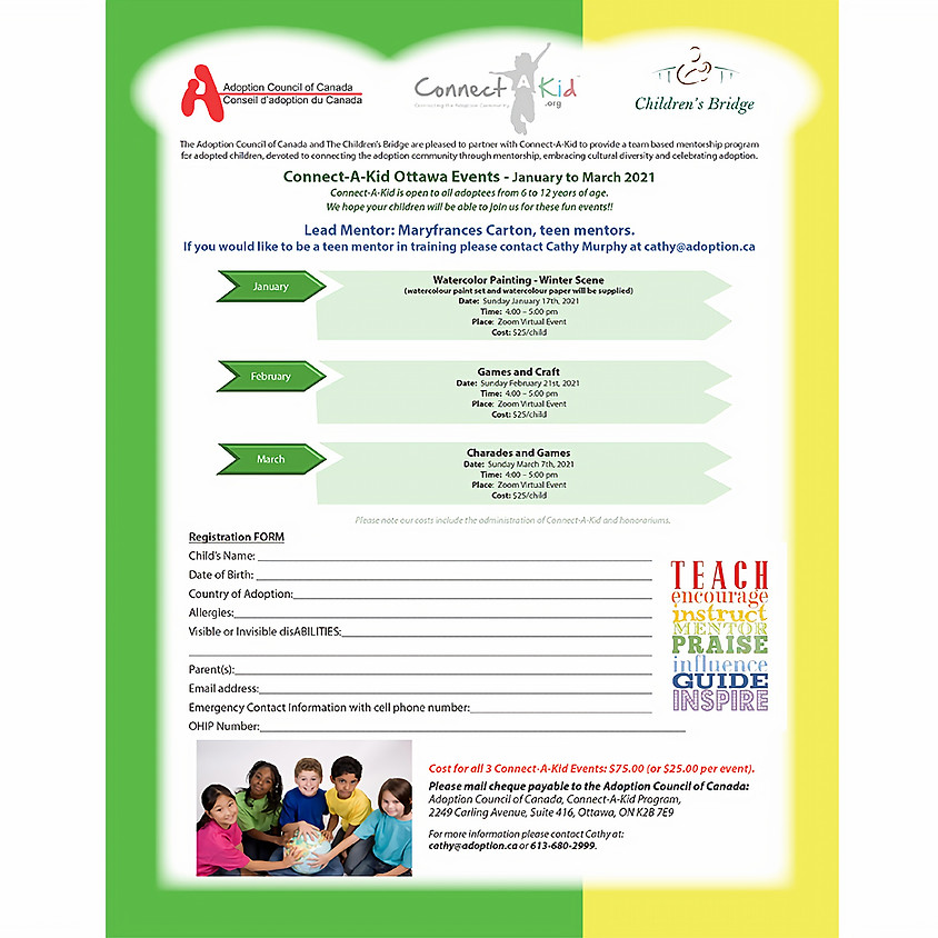 Connect-A-Kid Ottawa Events - March 2021