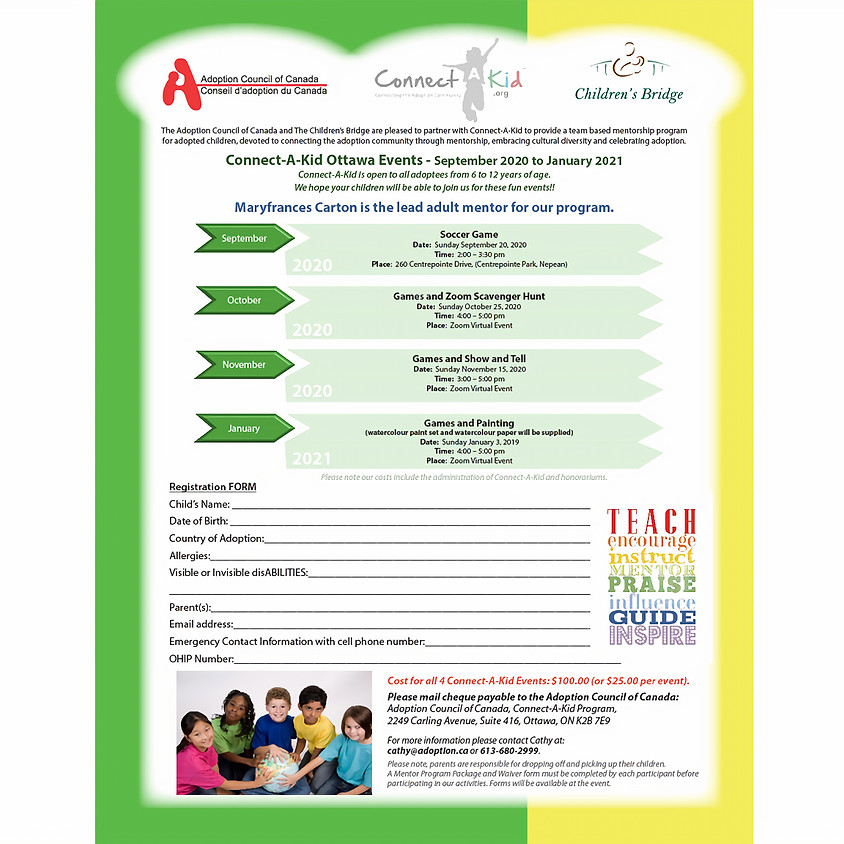 Connect-A-Kid Ottawa Events - September 2020 to January 2021