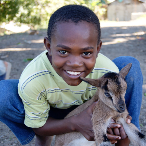 A kid happily lifting a goat for the camera