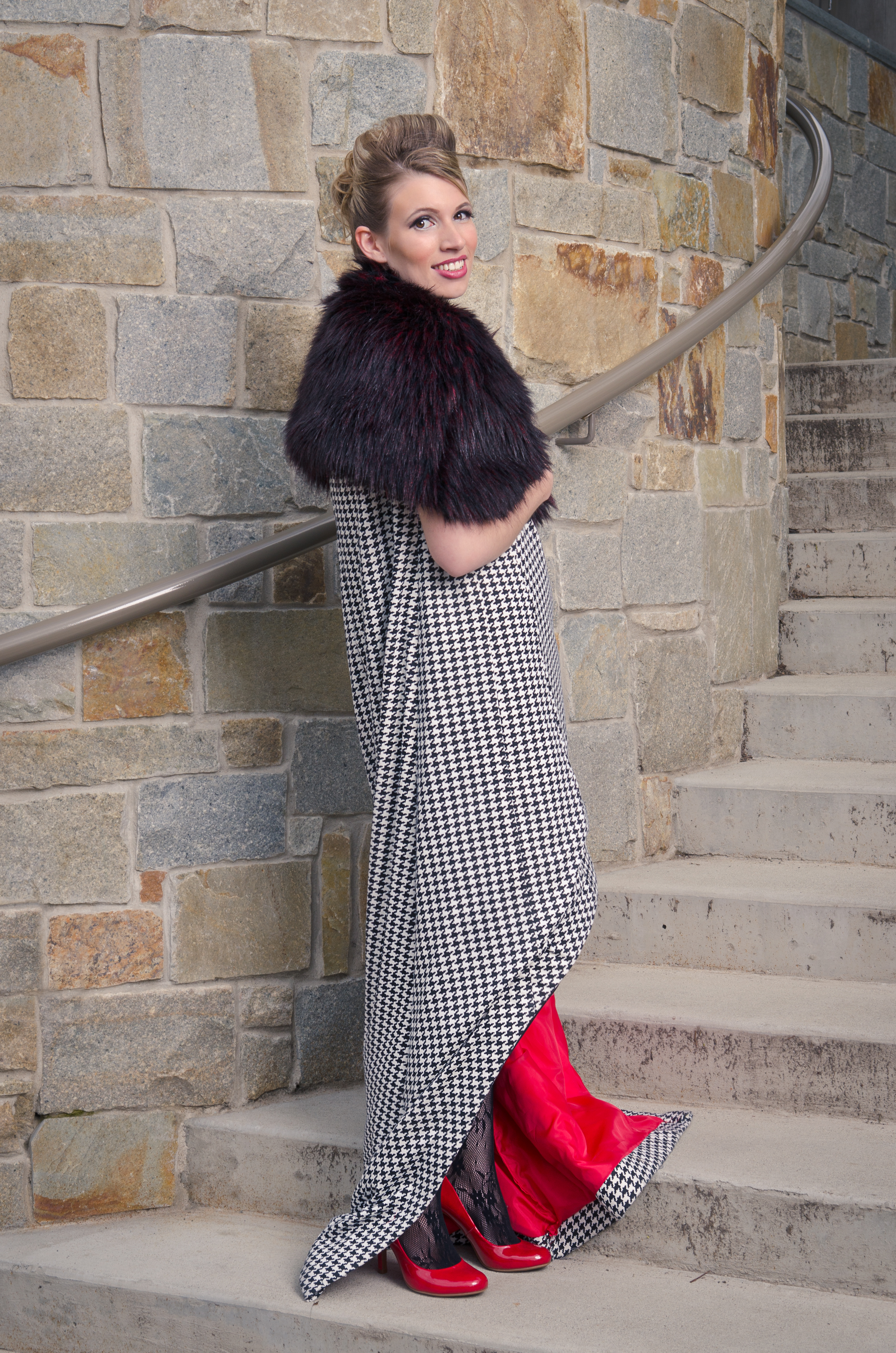 High Low Dress with Faux Fur Caplet
