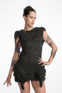 Pleated Dress with 3 Dimensional Bow