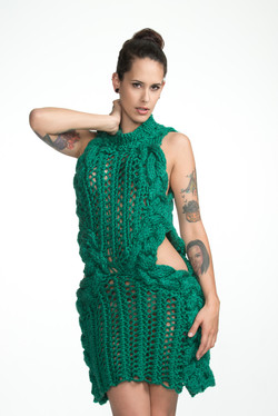 High Collar Cable Knit Dress