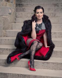 Faux Fur Coat with Shift Dress