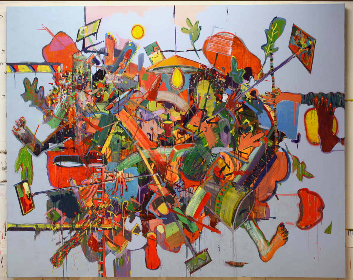 Selfi stick, 2019, oil on canvas, 250x20