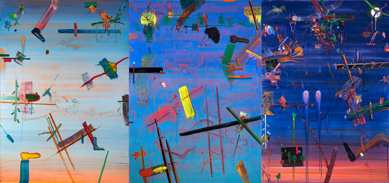 One Day, 2019, oil on canvas,390x180 cm,
