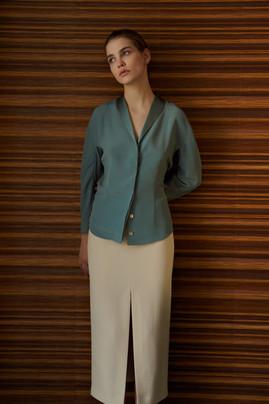 White Oleander silk blouse and silk skirt classy
