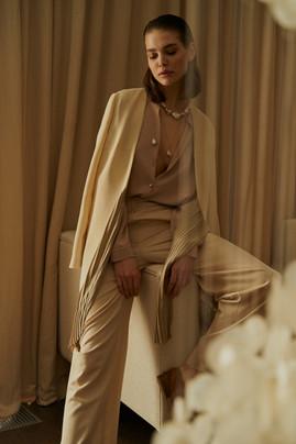 Adel silk pleated jacket, classy blouse, palazzo pants