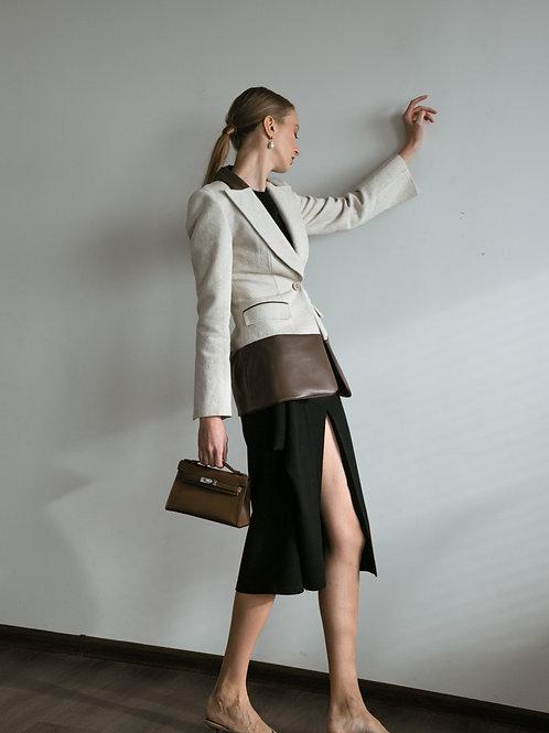 SAUT льняной пиджак с деталиацией из эко-кожи