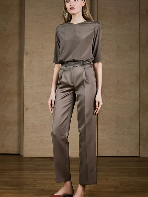 Silk Pants with Leather Belt