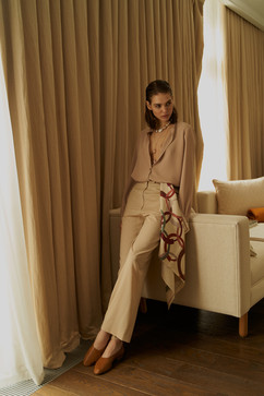 V Classy Blouse , palazzo pants and silk VestiairexRoss scarf