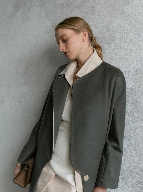 OLEANDER кашемировое пальто с кожей