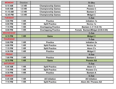 This week's Ice Schedule Dec 31-Jan 6