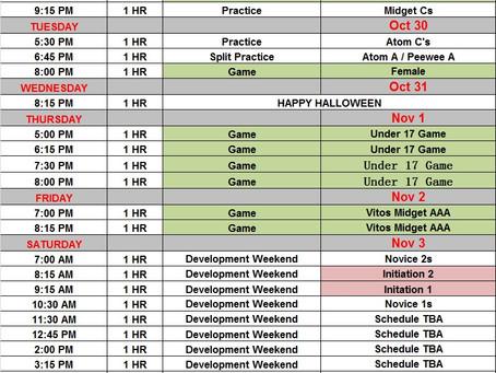 Sussex Minor Hockey weekly schedules