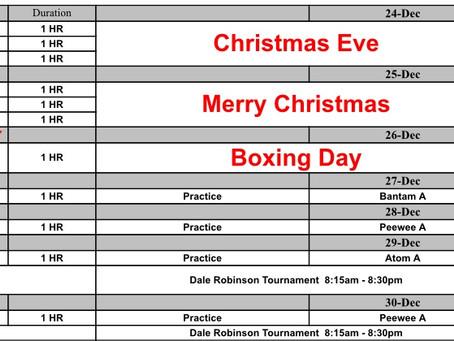 Christmas Week Ice Schedule - Happy Holidays !!!!