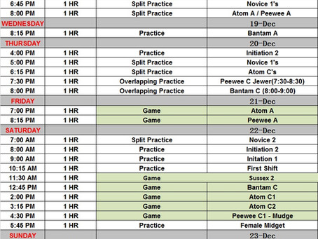 This week's Schedule Dec 17-23...Happy Holidays to our Hockey Family!!