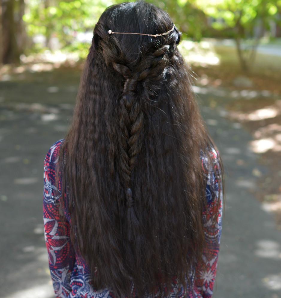 Dutch Braid with a fishtail Braid Half Updo  for Curly Hair