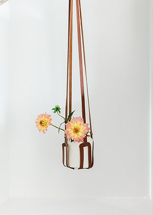Leather Hanger and Ceramic Vase