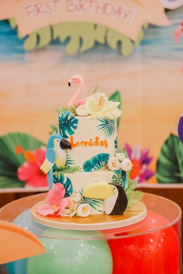 Tropical colourful rainbow birthday cake boy 1 year old 1st birthday party