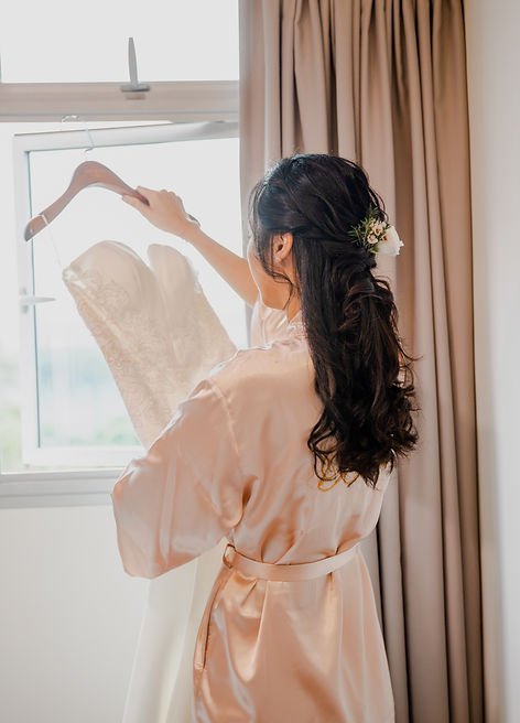 Bridal wedding hair robe and gown