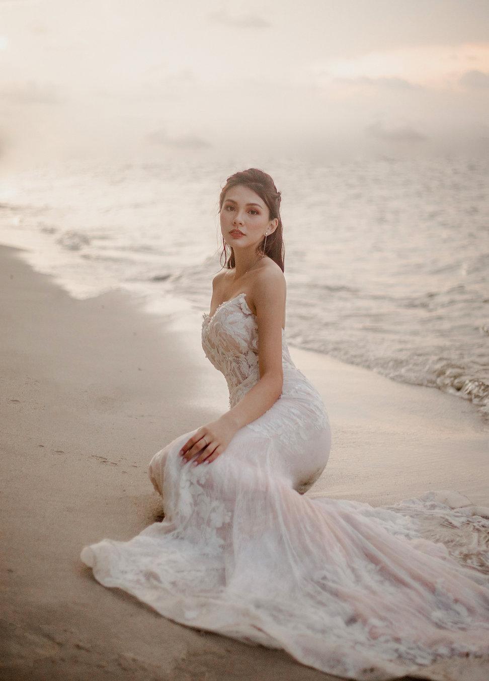 Mermaid sunset beach bridal shoot