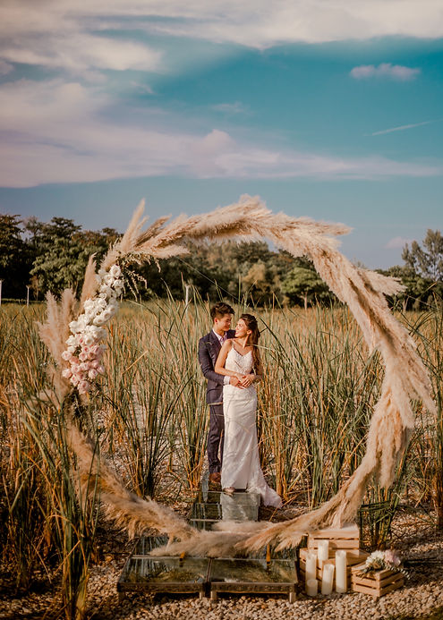 Round arch for pre-wedding shoot nature outdoors