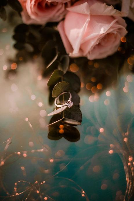 Wedding ring and fairy light floor