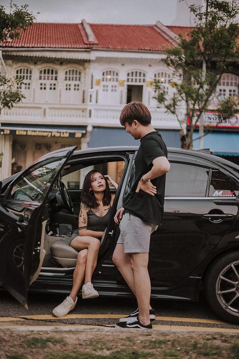 Couple photoshoot car street