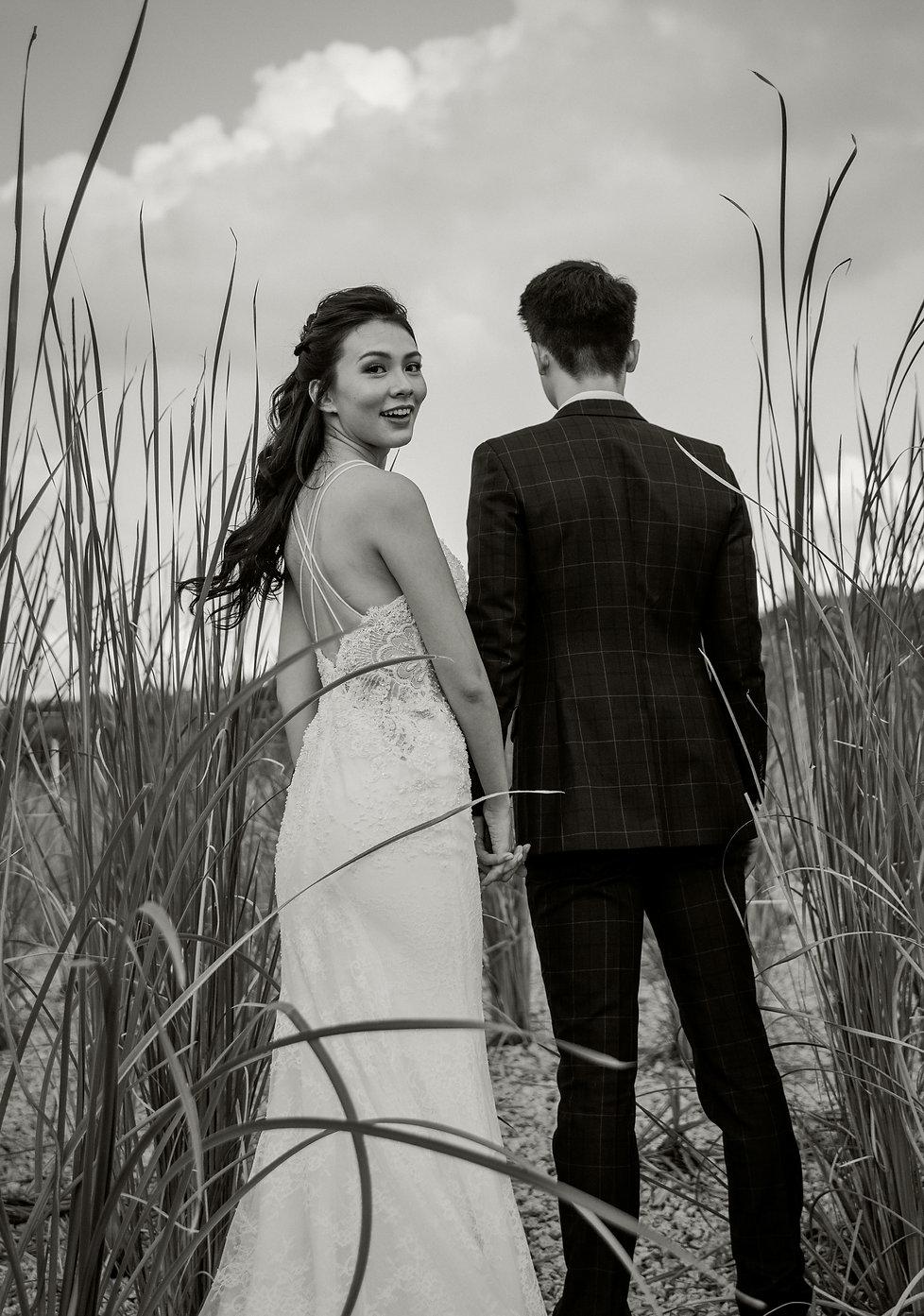 Black and white couple wedding photo