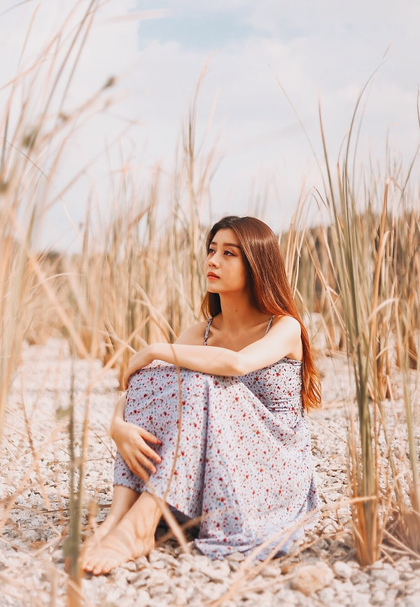 Field Outdoor nature photography ethereal floral dress girl