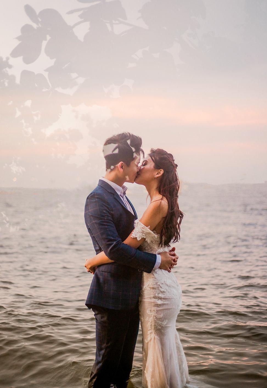 Sunset romantic beach wedding