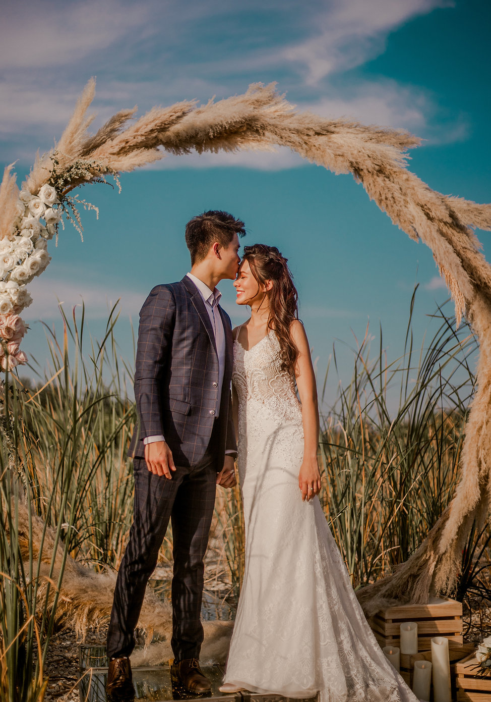 Pampas floral arch wedding photoshoot