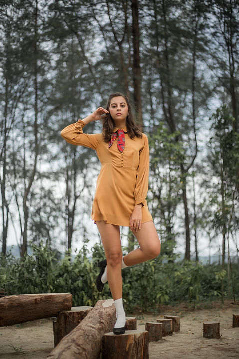 Brown dress fashion photography
