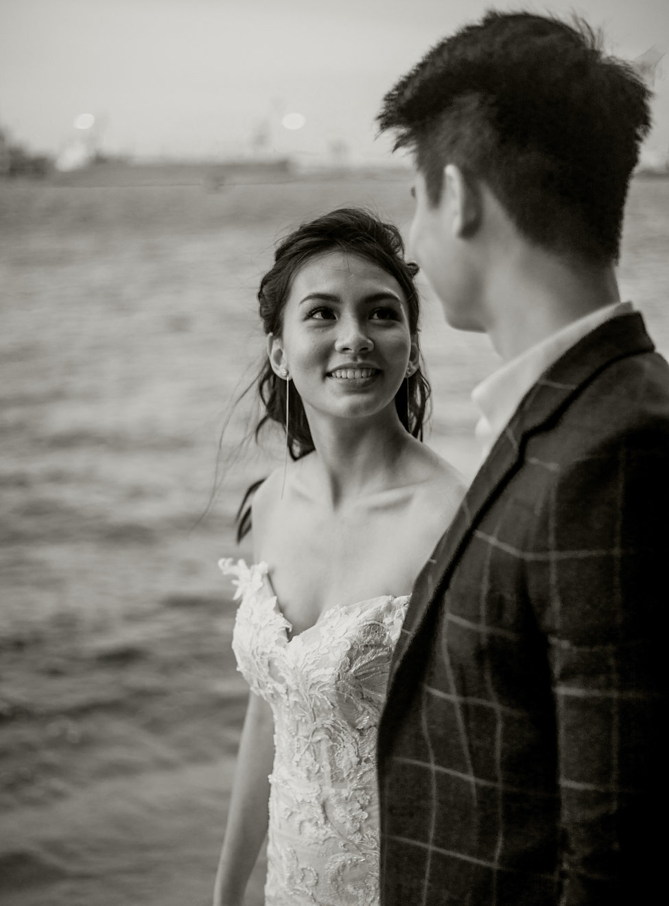 Black and white monochrome wedding photography