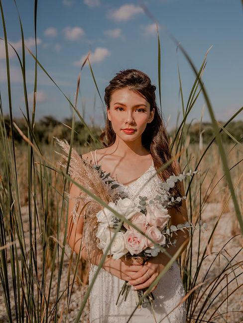 Bohemian wedding bridal hair and makeup