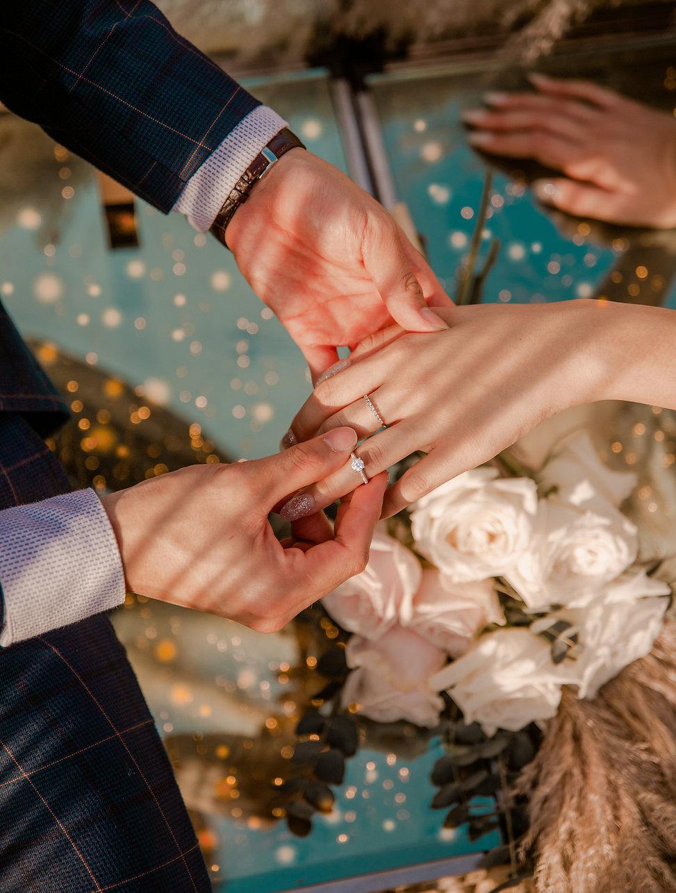 Wedding ring in outdoor photoshoot